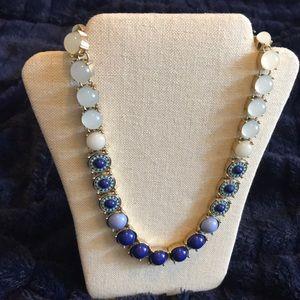 Blue and Shite Rhinestone Statement Necklace